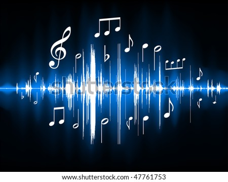 Blue Musical Notes Color Spectrum Original Vector Illustration - stock vector