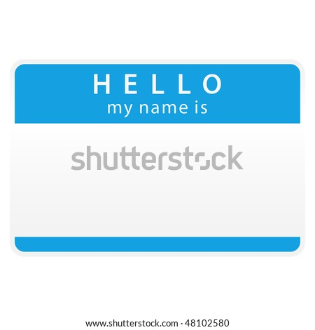Blue name tag sticker on white background - stock vector