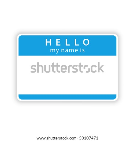 Blue name tag sticker with shadow on white - stock vector