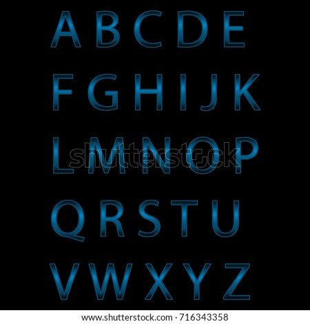 blue neon alphabet. glowing letters - vector