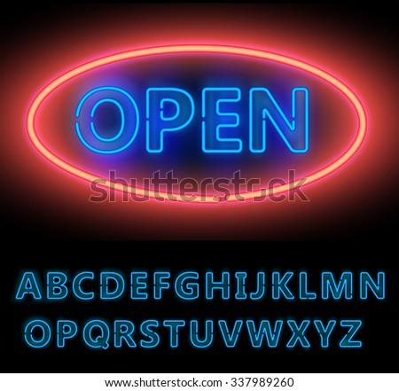 Blue Neon Double Stroke Alphabet Set for Signs. Realistic vector font set - stock vector