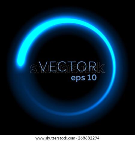 Blue neon glittering circle - stock vector