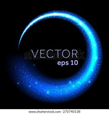Blue neon glittering star dust circle - stock vector