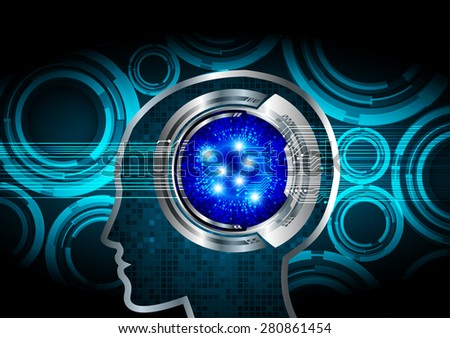 Blue Neon human head. CPU. blue Circuit board. Vector illustration. Abstract Technology background for computer graphic website internet and business. infographics. - stock vector