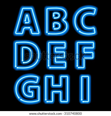 Blue neon light glowing letters set. Abc alphabet text symbols vector illustration. - stock vector