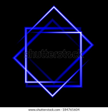 Blue neon square vector background. abstract. Vector. EPS10 - stock vector