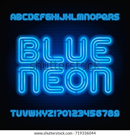 Blue Neon Tube Alphabet Font Light Stock Vector 515130409