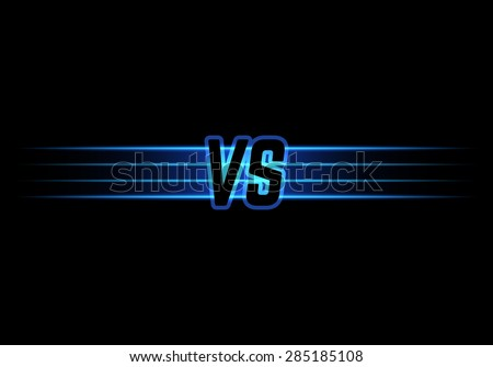 Blue Neon Versus Logo. VS Vector Letters Illustration. Competition Icon. Fight Symbol. - stock vector
