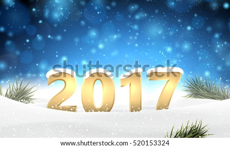 Blue 2017 New Year background with snow. Vector illustration.
