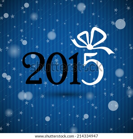 blue new year 2015 with ribbon. christmas concept
