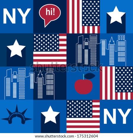 blue New York pattern - stock vector