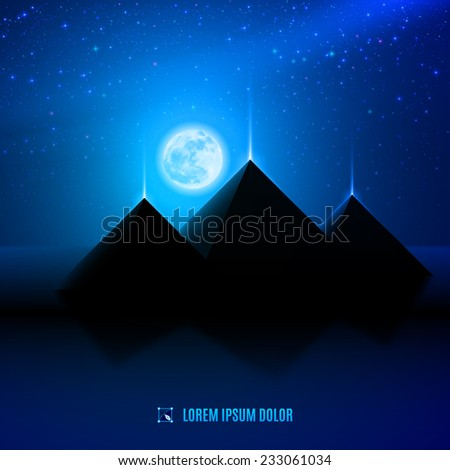 blue night  egypt  desert  landscape background scene illustration with moon, pyramids and stars - stock vector