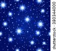 blue night sky seamless pattern with glowing stars. Vector illustration. - stock vector