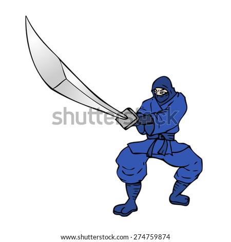 blue ninja - stock vector