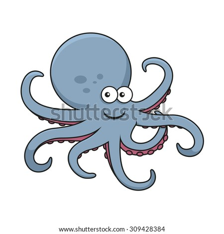 Blue octopus cartoon character with big round head and curved tentacles with pink suckers, for underwater wildlife or mascot design - stock vector