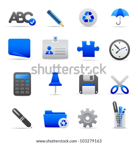 Blue Office Icons Professional vector set of office for your website, application, or presentation. The graphics can easily be edited colored individually and be scaled to any size