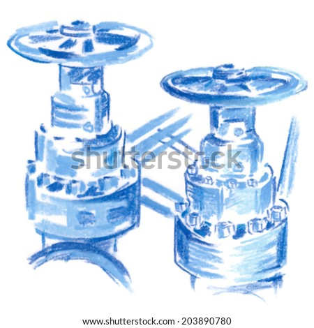 Blue oil and gas pipelines with valve isolate on white - stock vector