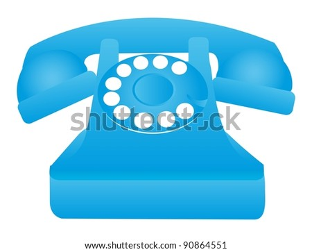blue old telephone isolated over white background. vector illustration - stock vector