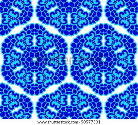 Blue on white seamless honeycomb arabesque (Eps10); - stock vector