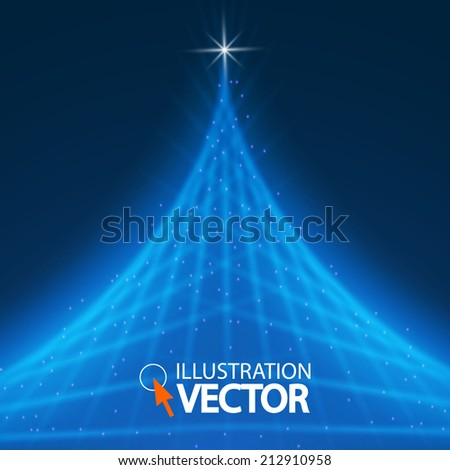 Blue Optical Fibers. Christmas tree. Vector illustration - stock vector