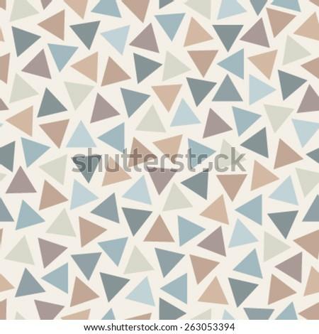 blue, orange, brown triangles on beige seamless pattern - stock vector