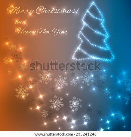 Blue orange color combination christmas lights background  - stock vector