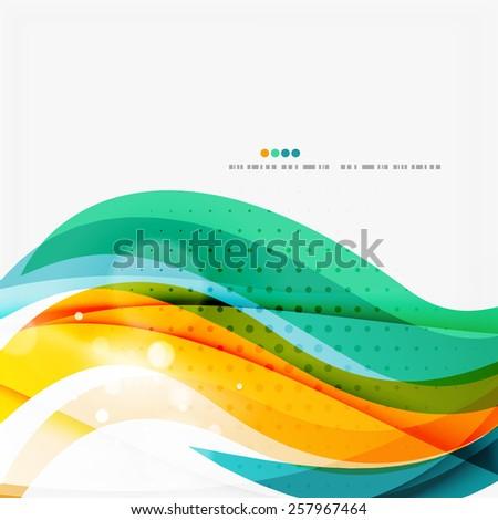 Blue, orange, red swirl wave lines. Light design for art project - stock vector
