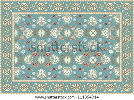 Blue Oriental Floral Carpet Design - stock vector