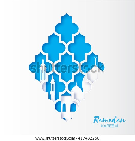 Blue Origami arabesque Mosque Window Ramadan Kareem Greeting card with arabic pattern. Holy month of muslim. Crescent Moon. Symbol of Islam. Applique Design Vector illustration. - stock vector