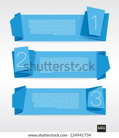blue origami banner vector.EPS10 - stock vector