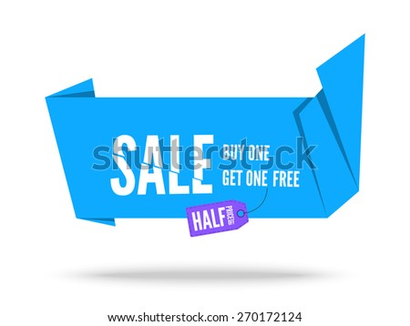 Blue Origami fold paper speech bubble for sale. Vector ribbon banner design for advertising - stock vector