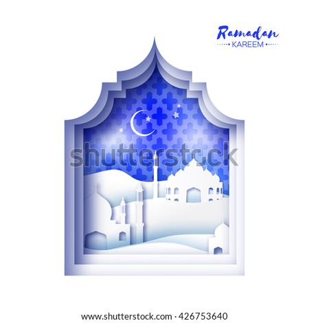 Blue Origami Mosque Window Ramadan Kareem Greeting card with arabic arabesque pattern.Desert Landscape.Holy month of muslim.Symbol of Islam.Crescent Moon Ramadan. Applique Vector illustration. - stock vector