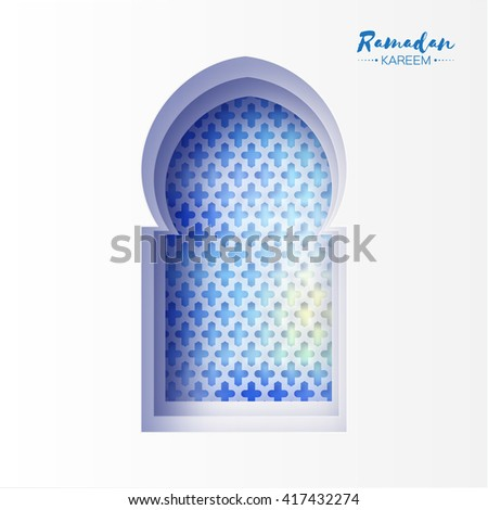 Blue Origami Mosque Window Ramadan Kareem Greeting card with arabic arabesque pattern. Holy month of muslim. Symbol of Islam. Moon Ramadan. Applique Vector illustration. - stock vector