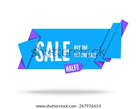 Blue Origami paper ribbon for sale. Vector flat banner design for advertising - stock vector