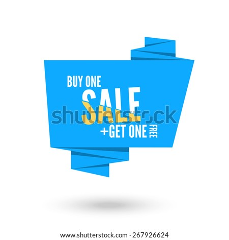 Blue Origami paper speech bubble for sale. Vector ribbon banner design for advertising - stock vector