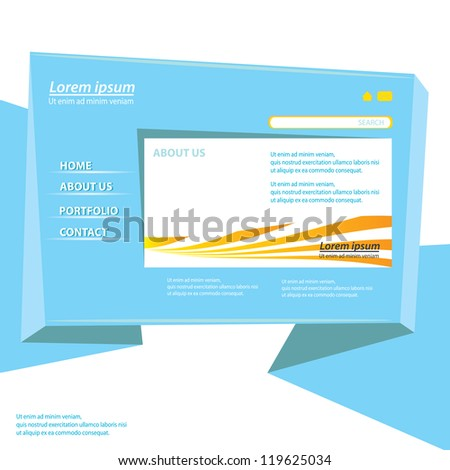 blue origami website template design. vector origami style site. - stock vector