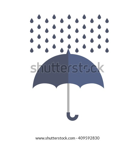 Blue outdoor umbrella protects from rain drops flat web icon, website logo colored picture on isolated background - stock vector