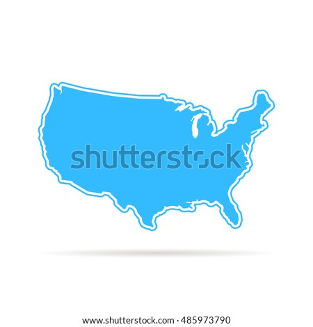 Thin Line Usa Map Other Territories Stock Vector - Hand drawn us map vector