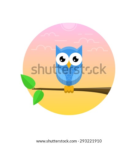 Blue owl on the branch with two green leaves - stock vector
