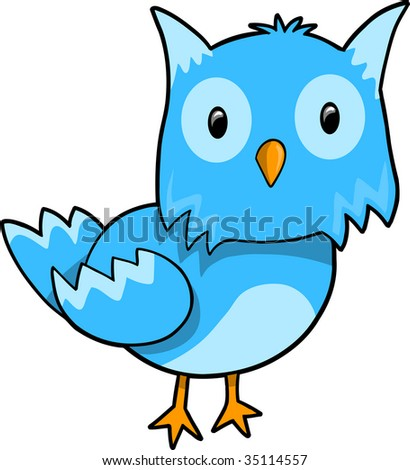 Blue Owl Vector Illustration - stock vector
