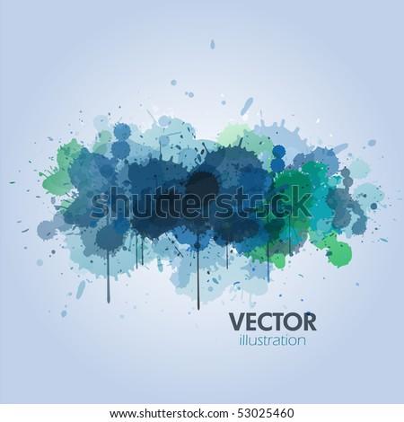 Blue paint splats background - stock vector