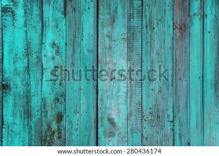 blue painted old wooden wall. cyan background, vector - stock vector
