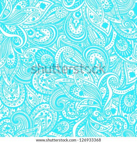 Blue paisley pattern - stock vector