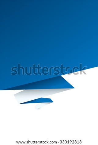 Blue paper background with shadow effect and room to add text - stock vector