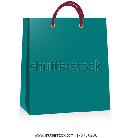 blue paper bag, vector illustration