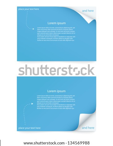 blue paper card with curled corner - stock vector