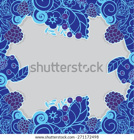 Blue paper decorative border, frame with doodle flower pattern and berries. Vector illustration - stock vector