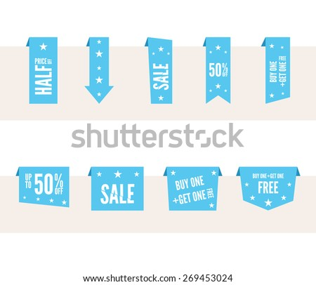Blue paper speech tags set for sale and advertising. Flat Vector design elements - stock vector