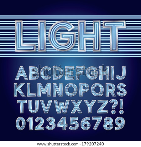 Blue Parallel Neon Light Alphabet and Numbers, Eps 10 Vector Editable - stock vector