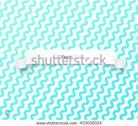 Blue Parallel Wavy Lines Wallpaper Vector Design with a Simple White Text Box - stock vector